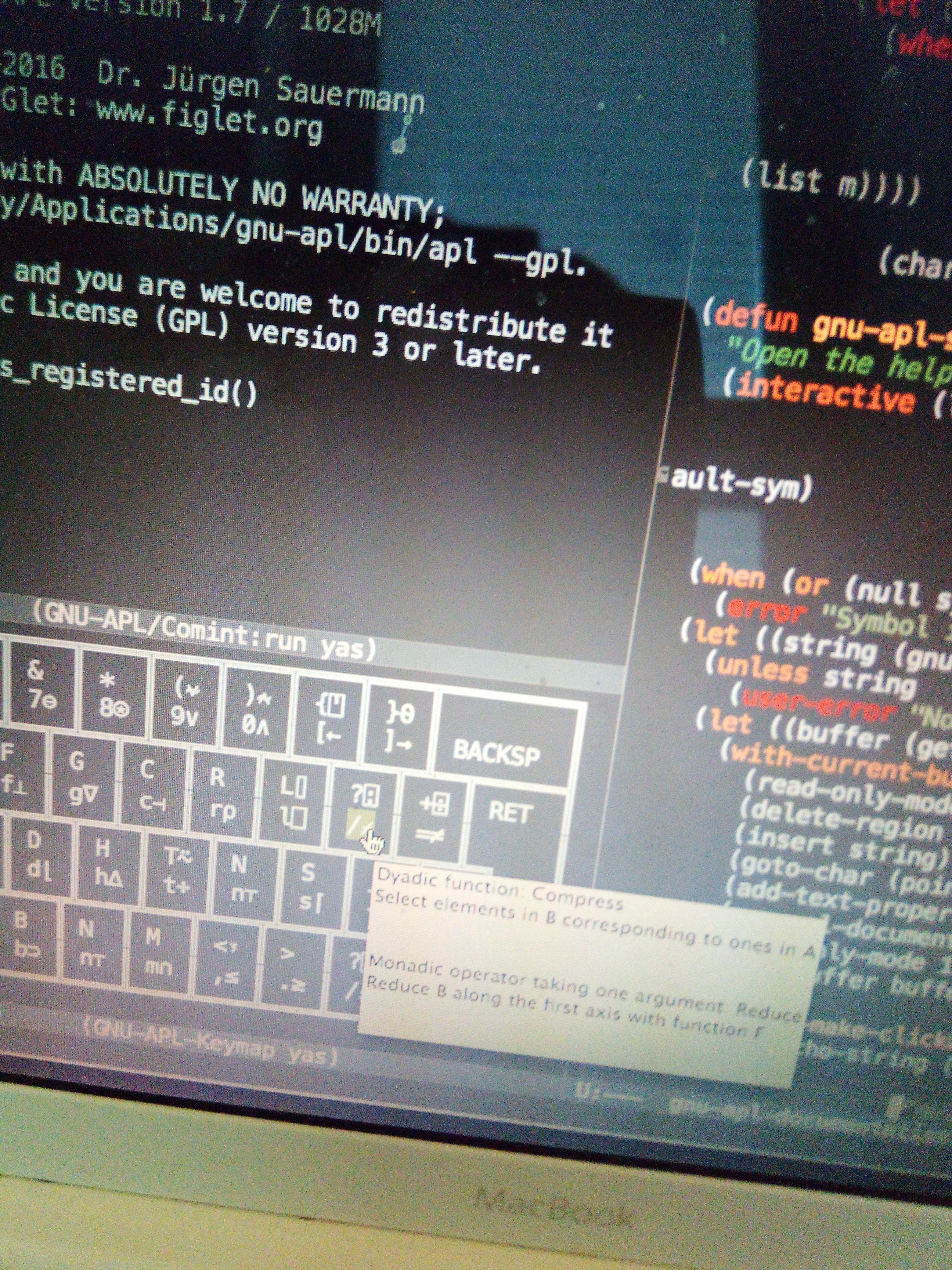 GNU APL tooltips